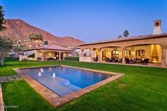 right in middle of yard?Arizona Estate! Mountain side, modern pool and sun set! Love this AZ home:0) Fireplace placement on our porch in middle