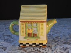Ceramic Tea Pot House from Sakura Debbie by WidhalmsCollectibles, SOLD