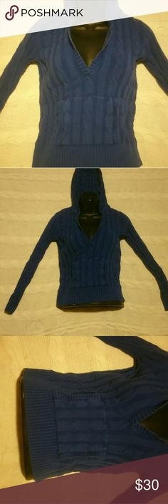 Ann Taylor's dark blue, deep V-neck hooded sweater Cobalt blue, deep v-neck, kangaroo, sweater with hoodie with ribbing design. Large blue hood. Extra small. From Ann Taylor. Ann Taylor Sweaters V-Necks