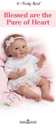 This realistic baby doll by Master Doll Artist Ping Lau is always happy to see you! She's handcrafted of RealTouch vinyl and weighted to feel incredibly lifelike in your arms as she's snuggled in her soft pink baby blanket. And, she looks so precious in her pristine white outfit adorned with delicate ruffles of lace and tiny pink bows. Make her yours today!