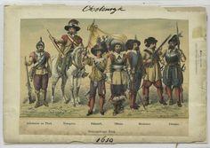 IndexDreissigjäriger Krieg. Arkabusier zu Pferd, Trompeter, Fähnrich, Officier, Musketier, Pikenier. 1630