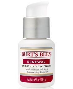 Infused with a natural hibiscus and apple rejuvenating complex, Burt's Bees Renewal Eye Cream is clinically shown to help reduce the appearance of wrinkles, dark circles and under-eye puffiness. White