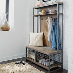 17 Stories Eckles Hall Tree & Reviews | Wayfair Wire Basket Storage, Wood Storage Bench, Entryway Storage, Storage Spaces, Wire Storage, Entryway Hall Tree, Entrance Hall, Entryway Decor, Foyer