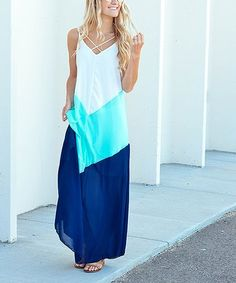 701b13ef4 $24.79 marked down from $68! Mint & Navy Color Block Maxi Dress #fashion