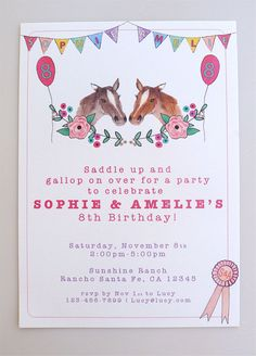 PRINTABLE Horse Pony Party Invitation For Twins Or 2 Friends Invite Any Girl Boy Crazy About Horses Ponies This Listing Is