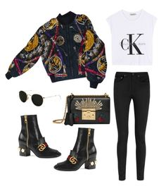"""Untitled #1673"" by itsjust-oohz ❤ liked on Polyvore featuring Calvin Klein Jeans, Hermès, Gucci, Ray-Ban and Yves Saint Laurent"
