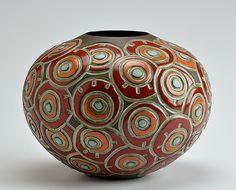 Circle Doodle - Red: Boyan Moskov: Ceramic Vessel - Artful Home