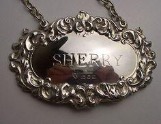 Vintage Silver Decanter Label Lon 1966 Sherry D J S | eBay