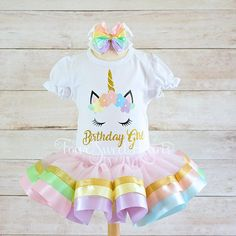 Birthday Unicorn Outfit, Pastel Rainbow Outfit, Unicorn Birthday Outfit, Unicorn Outfit, Rainbow Dress, Rainbow Tutu, Unicorn Dress *Current Production Time: 2 WEEKS PLUS 2-4 business days for domestic shipping or up to 3 weeks for international shipping* PLEASE READ THE ENTIRE