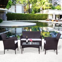 costway 4 pc patio rattan wicker chair sofa table set outdoor garden furniture cushioned walmart