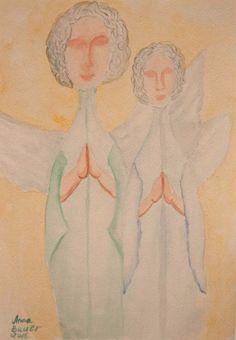 Original Aquarell Watercolour  Weihnachten Angel  Naive 21*29 cm
