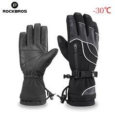 6e1bd3ae ROCKBROS длинный палец велосипедные перчатки тепловой водонепроницаемый  сноуборд перчатки Снег ветрозащитный-30 градусов езда на