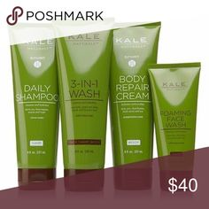 Kale Naturals 4pc bath & body cleansing set You're committed to healthy living. You eat well and exercise hard. Shouldn't your morning routine suit your lifestyle? This botanical-rich set helps cleanse, refresh and soften your face, skin and hair. 8 fl. oz. 3-in-1 Wash 3.4 fl. oz. Foaming Face Wash 8 fl. oz. Sport Body Repair Cream 8 fl. oz. Sport Shampoo Contains extracts of citrus, green tea, myrrh, kelp, soap bark and licorice root Crisp, invigorating wild mint scent  Free of parabens…