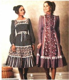 Gunne Sax peasant dresses - Fashion Show Seventies Fashion, 70s Fashion, Fashion History, Women's Fashion Dresses, 1970s Hippie Fashion, Fashion Vintage, Fashion Hats, Fashion Brands, Fashion Jewelry