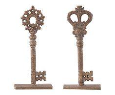 Set de 2 llaves decorativas en metal