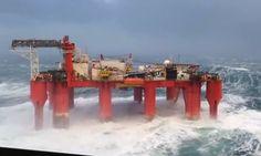Video: Massive Waves Slam Oil Rig