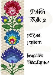 Peyote Pattern for bracelet: Polish Folk 2- INSTANT DOWNLOAD pdf by Beadamor on Etsy