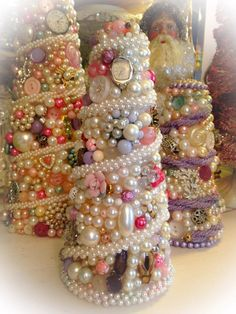 This pink vintage jewelry tree is 7 tall and and loaded with vintage jewelry. Vintage Jewelry is a passion of mine and I have been a collector for many years. Each tree is handmade one gem at a time. Christmas is right around the corner! Jeweled Christmas Trees, Cone Christmas Trees, Vintage Christmas Ornaments, Christmas Art, Handmade Christmas, Cone Trees, Christmas Decorations, Christmas Stuff, Pearl Crafts