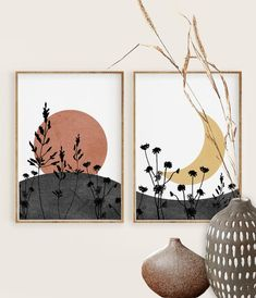 Boho Sun and Moon Print Set of 2 Abstract Landscape Wild Simple Canvas Paintings, Diy Canvas Art, Modern Canvas Art, Moon Painting, Moon Print, Printable Wall Art, Printable Designs, Free Printable, Abstract Landscape