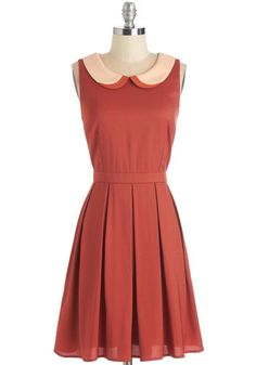 Collar it a Day Dress. Kick up your heels and join your pals for happy hour in this delightful rusty-red frock. #gold #prom #modcloth