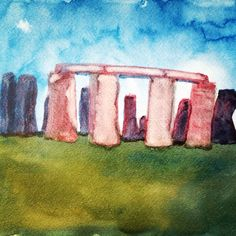 Watercolor of Stonehenge. Grade 5 Ancient Humans/Archaeology. Waldorf homeschooling, Syrendell.
