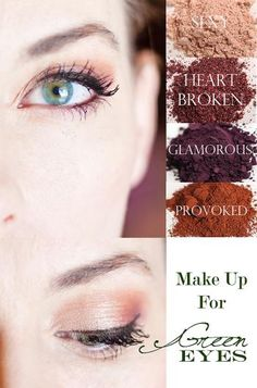 Makeup for green eyes. Here is a classic look using Younique's all natural eye shadow pigments. Click to see the tutorial, so you too can re-create this stunning and beautiful look! Younique Naturals.