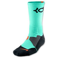 Men's Nike KD Hyper Elite Basketball Crew Socks | FinishLine.com | Green Glow/Black/Team Orange