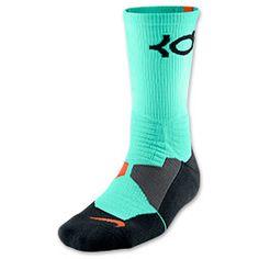 Men's Nike KD Hyper Elite Basketball Crew Socks| FinishLine.com | Green Glow/Black/Team Orange