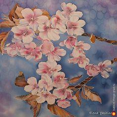 """Платок батик """"Яблоневый цвет"""" - батик, авторские шарфы и платки. МегаГрад - мега-портал авторской ручной работы"""