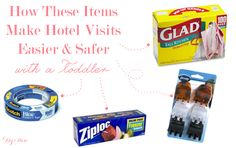 How these every day items make staying at a hotel easier & safer with a toddler. Use the hair clips to secure the drapes together so no light gets in and wakes up your sleeping toddler during naps and in the am! Use painters tape to cover any electrical outlets. Bring trash bags to store all worn and dirty clothes...when you get home just take the trash bag directly to the laundry room to make the unpacking process less painful. Always have Ziploc bags to store wet items like bathing suits…