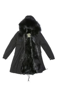 Slim Fit Long Black Parka With Black Fox by MR & MRS ITALY for Preorder on Moda Operandi