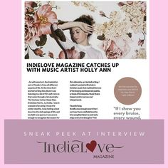 Upcoming interview with Holly Ann , album Light & bloom in IndieLove Magazine at www.indielovemagazine.com