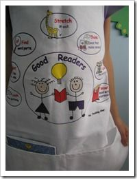 Good reader strategies on an apron! So cute!
