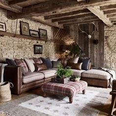 Enjoy a classic country look with the Hemsley sofa range, a perfect blend of vintage leather, heritage-inspired checks and British wools. Corner Sofa Living Room, Cottage Living Rooms, New Living Room, Living Room Modern, Living Room Interior, Living Room Designs, Room Corner, French Country Living Room, French Cottage