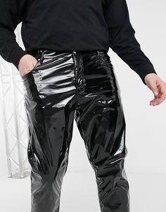 Pvc Trousers, Vinyl Clothing, Cyberpunk Fashion, Asos, Leather Pants, Handsome, Skinny Jeans, Mens Fashion, Classic