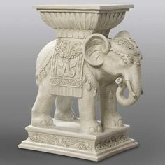 Indian Pedestal Elephant, Fibre Stone, 10 x 18 x 18 inches high, Great Indoors/Outdoor Accent   $157
