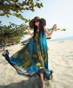 New Lady Women's O-Neck Sleeveless Print Beach Casual Loose Full Length Dress