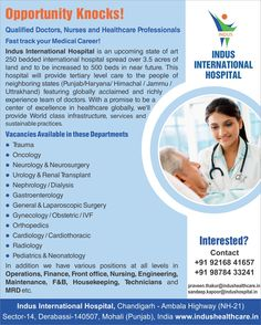 For Job Seekers, Good Opportunity in Indus International Hospital...