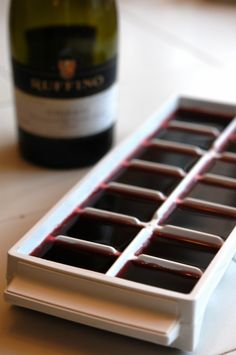 """WHY I WOULD HAVE """"LEFTOVER"""" WINE, I DON""""T KNOW, BUT GOOD TIP-Freeze leftover wine in icecube trays to cook with later. I never even thought of doing that, but it's a great idea! I might just use the wine cubes with a red wine spritzer!"""