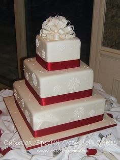 @Kelsey Myers Corrine I picture your wedding cake like this!! But with blue and silver!! Just saw your post that said something about not liking the topper but maybe if it were a snowflake.