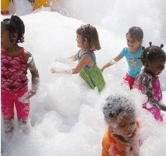 Bubble Party!     KinderCare preschoolers enjoy bubbles during outdoor play time. Right now Zoë is afraid of the bubbles in the bath