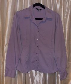 Mauve button shirt Large 12-14 long sleeve stretch-cotton career or casual  #George #ButtonDownShirt #Career