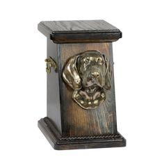 Wooden urn, made of birch with cold cast bronze statue ♥ Cremation Boxes, Dog Cremation, Weimaraner, Bullmastiff, Urn Vase, Brass Handles, Birch, Your Pet, Bronze