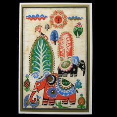 Greeting Card- Folk Elephants