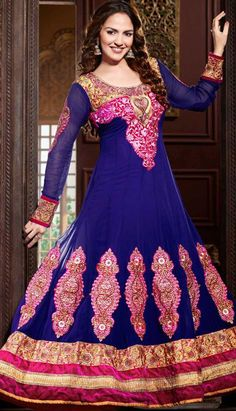 We offer a fabulous collection of royal blue color georgette anarkali style churidar kameez. The #kameez is designed with resham, zari, stone, lace, velvet and patch patty work. Beautiful embroidered neckline and border area is highlighting the royalty of the kameez.