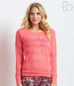 "LIVE LOVE DREAM Even when vacay seems far away, our LLD Long Sleeve Sheer Beach Striped Knit Top is cheery enough to get you through the day! Lightweight and loungy, this layer features ultra-bright neon fabric and sassy ""Take me to the beach"" text.<br><br>Relaxed fit. Approx. length: 23""<br>Style: 8004. Imported.<br><br>100% polyester.<br>Machine wash/dry.<br><br>Model height: 5'8.5""; Size: Small."