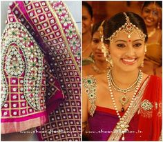 Stone and Kundan work bridal blouse designs for silk sarees