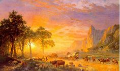 """Albert Bierstadt, """"Emigrants Crossing the Plains,"""" 1867, Romantic Realism"""