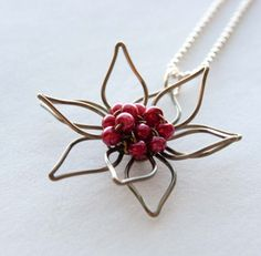 Cherry Red Flower and Antiqued Brass Wire Necklace, Bridal #etsy  #etsyretwt