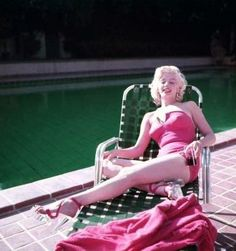 Marilyn photographed at Greenacres for a Coca-Cola ad by Harold Lloyd, 1953.